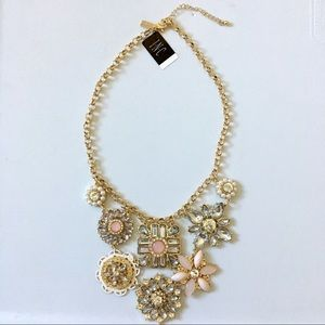 Pink Flower Dream Catcher Bib Stone Necklace